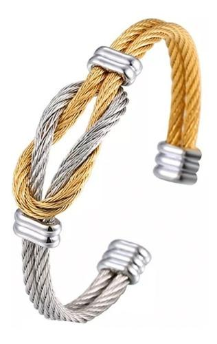 Brazalete Para Hombre De Acero Inoxidable Plata/oro Elegante