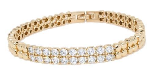 Esclava De Hombre Mujer De Oro Lam 18k. Con Placa Diamantada