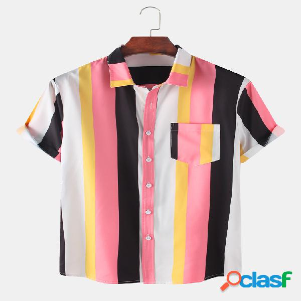 Hombres Colorful Rayas Impreso Casual Delgado Camisa
