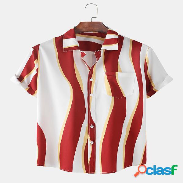 Hombres Resumen Rayas Impreso Casual Delgado Camisa