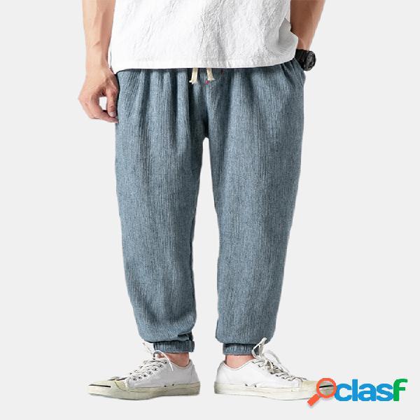 Jogger suelto transpirable oriental de lino y algodón para