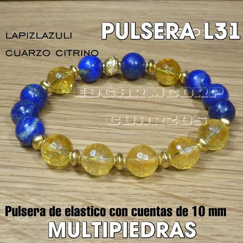 Joyeria Trc25 Pulsera De Lapizlazuli Y Cuarzo Citrino Pz L31