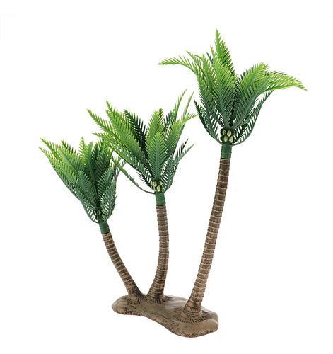 Mini Modelo Árbol Palmera Coco De Plástico Color Verde En