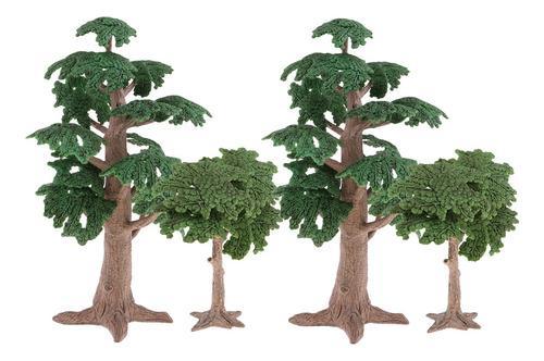 Paquete De 4 Árboles Modelo Con Base, Modelos Diorama,