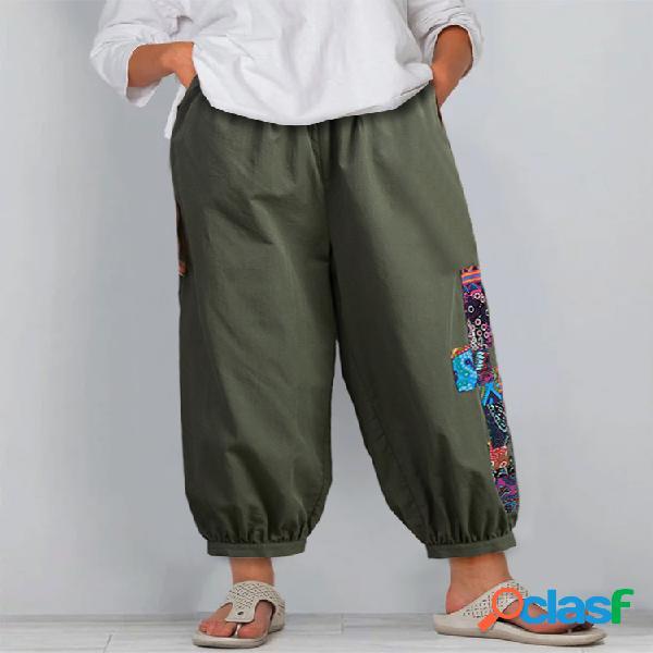 Patchwork Elástico Cintura Imprimir Plus Tamaño Pantalones