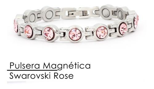 Pulsera Con Imanes Y Piedras Swarovski Color Rose
