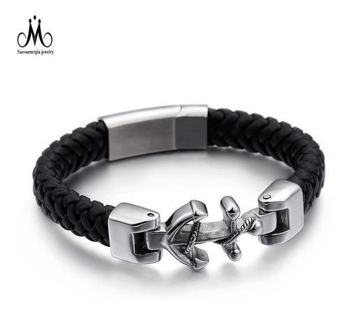 Pulsera De Ancla Metal Y Cuero Magnética + Envío Lb-150481