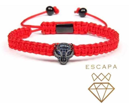Pulsera De Jaguar Con Zirconias En Hilo Rojo
