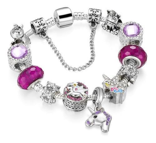 Pulsera Estilo Pandora Para Niña Unicornio 11 Charms 17 Cms
