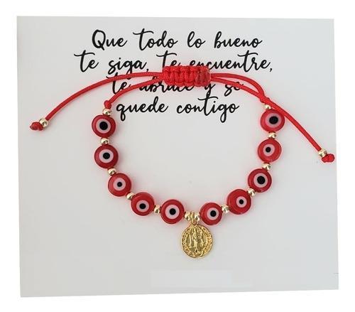 Pulsera Hilo Rojo Ojo Turco San Benito Bebe/niñ@ Proteccion