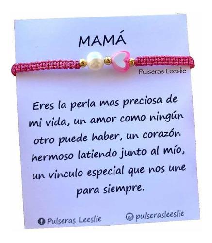 Pulsera Mamá Día De Las Madres Regalo Macramé Perla De
