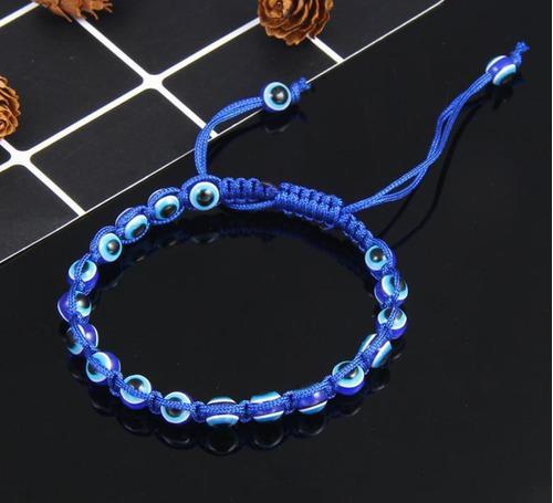 Pulsera Ojo Turco Hilo Tibetana- Proteccion Malas Ener- Azul