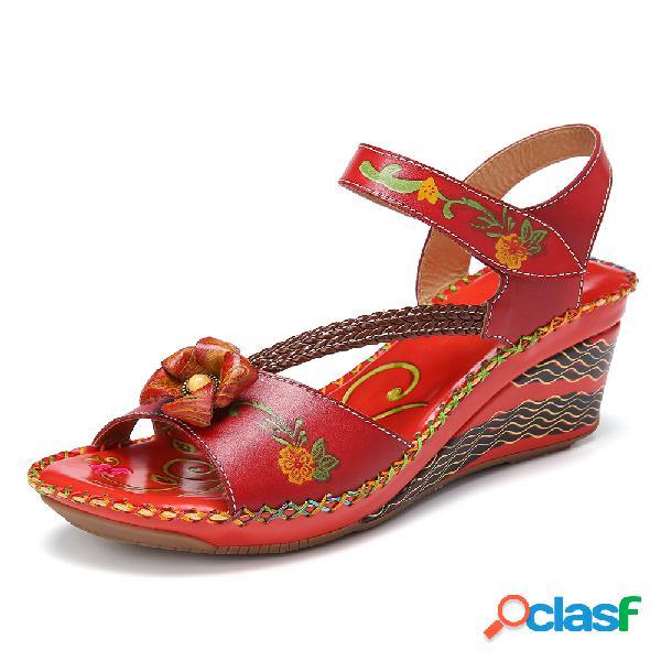 SOCOFY Bohemia hecha a mano de cuero floral Gancho Costura
