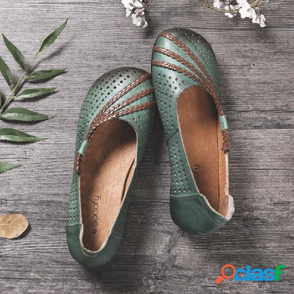 SOCOFY Soft Zapatos planos de cuero pulido con cordones