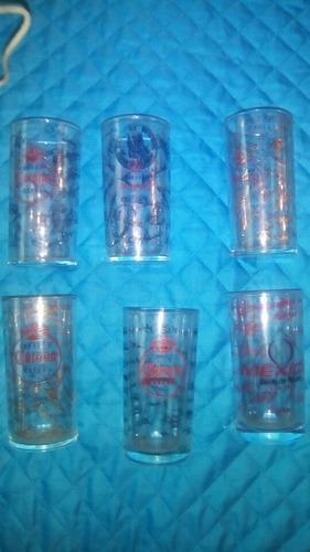 6 Vasos De Coleccion De Cristal De Beisbol De Mexico