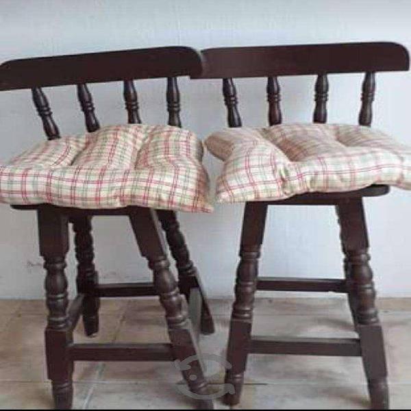 Bancos silla altas de madera con respaldo