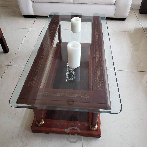 Mesa de Madera Grabada, con Cristal templado Maple