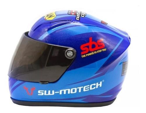 Mini Casco De Moto Sw Motech De Decoración Azul Colección