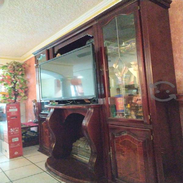 Mueble de madera con vitrina