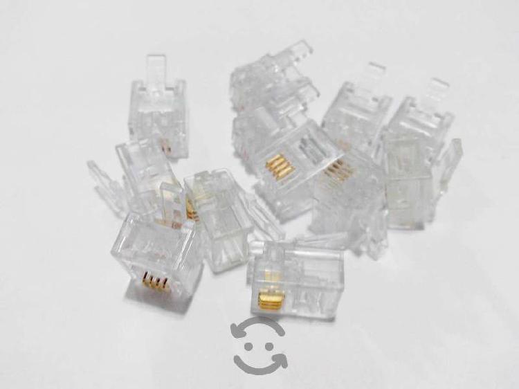 50 Plugs RJ11 4 Vias AMP Original 5-641335-3