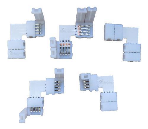 Kit 5 Pzs Conector L Broche Para Unir Tira Led Rgb 4 Pines