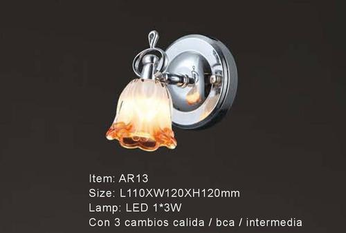 Lampara De Pared Flor Ambar 1 Luz Led