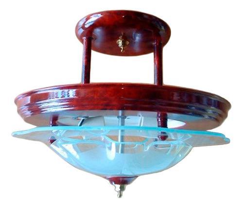 Lámpara Techo Candil 1 Luz Chino Ch Nogal Md.53c Duper