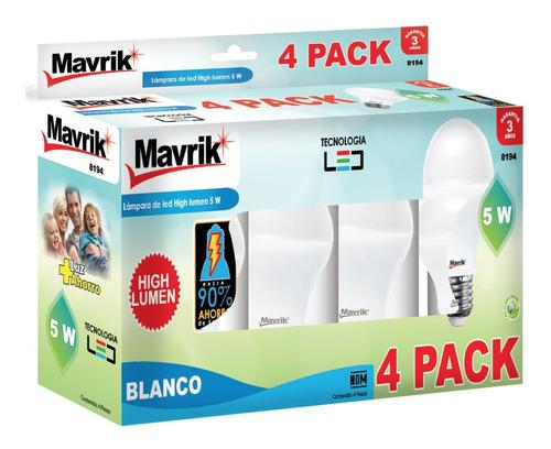 Multipack 4 Foco Ahorrador Led High Lumen 8194-4 5w Mavrik