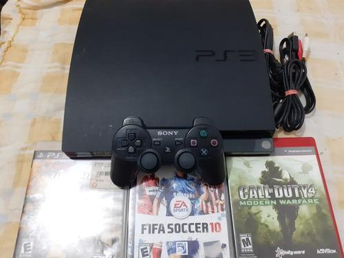 Ps3 Slim De 120gb Con Control Y 3 Juegos Originales