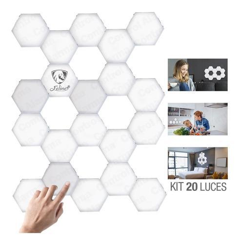 Touch Led Lampara Hexagonal Iluminacion Pared 20 Modulos Luz