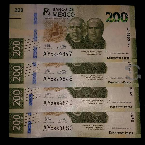 BILLETE DE 200 PESOS SIN CIRCULAR SERIE A CONSECUT