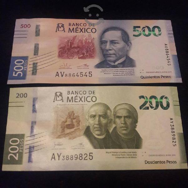 BILLETES DE 500 Y 200 PESOS SIN CIRCULAR SERIE A