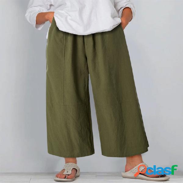 Casual Color sólido Plus Tamaño Ancho Led Pantalones