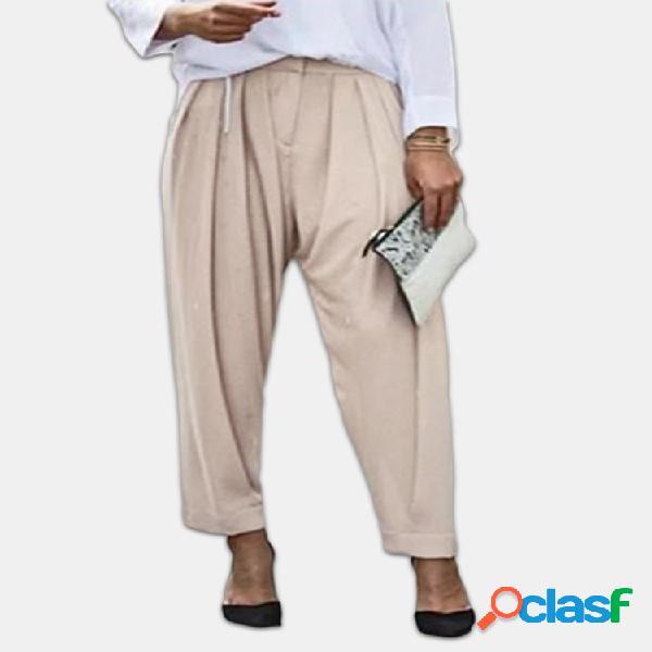 Cremallera plisada casual Fly Plus Tamaño Pantalones con