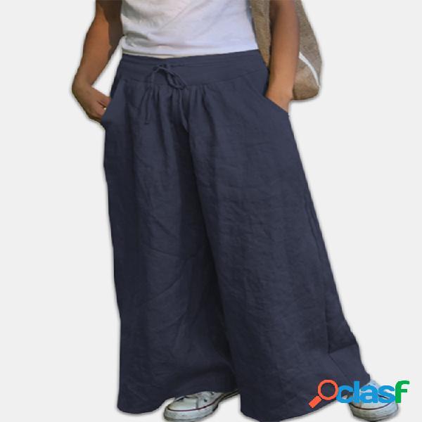 Dawstring Cotton Plus Tamaño Ancho Pierna Pantalones para