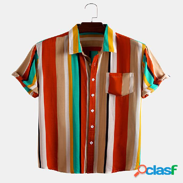 Hombres Colorful Rayas Impreso Casual Camisa
