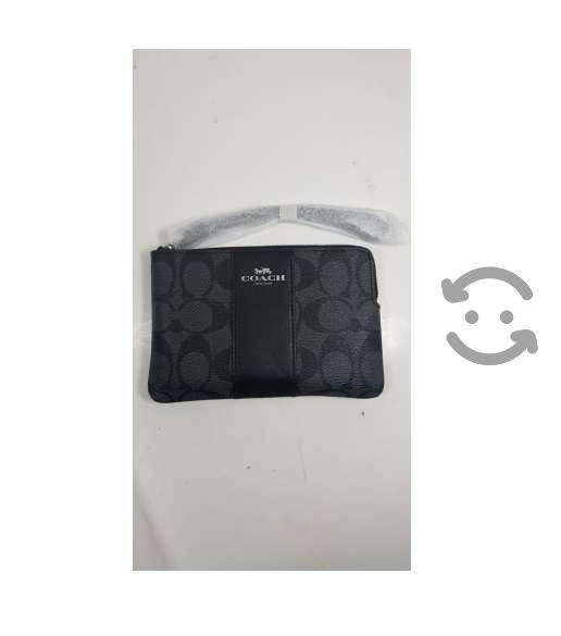 Monedero Coach Color Negro/Gris Para Mujer