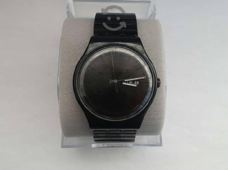 Reloj Swatch Negro Pulsera Flexible En Caja