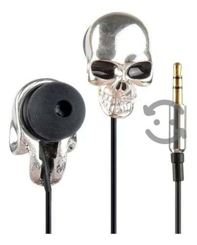 Audifonos De Calavera Craneo Skull Plateados 3.5