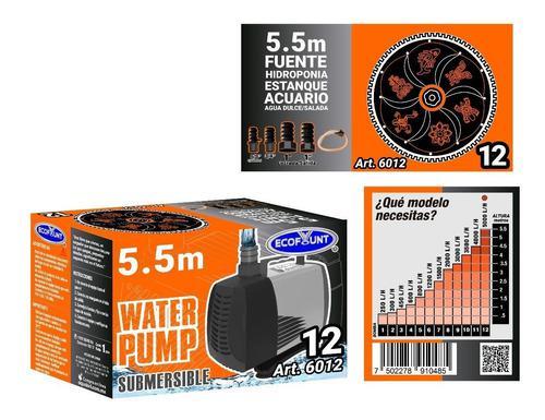 Bomba De Agua Sumergible Acuario Fuente 5.50 M 6012
