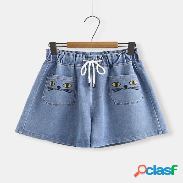 Cartton Gato Imprimir Plus Talla Demin Pantalones cortos