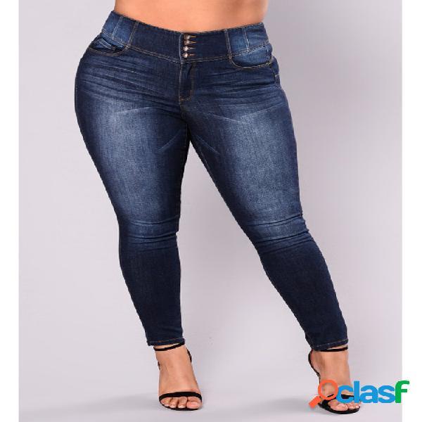 Color sólido de cintura alta Plus Tamaño Demin Pantalones