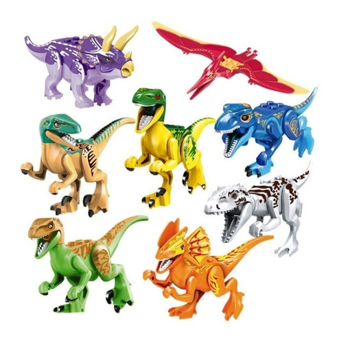 Excelente Set 8 Dinosaurios De Colores Armables Compatible