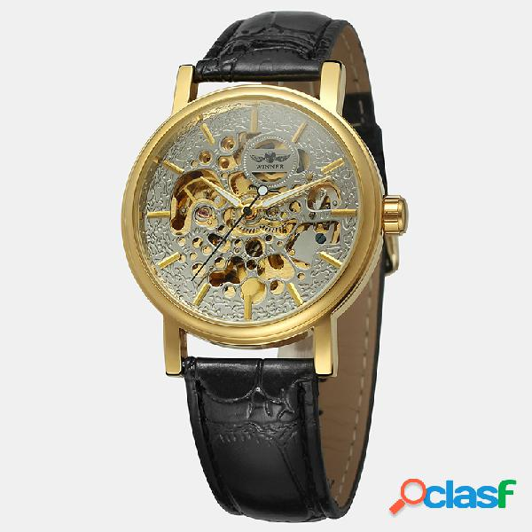 Ocio de lujo Reloj para hombre Aleación Caso Cuero Banda