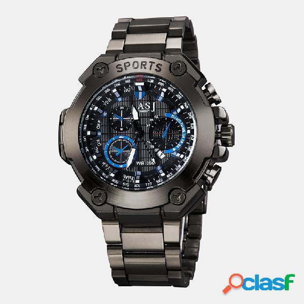 Relojes deportivos de moda para hombre con correa de acero