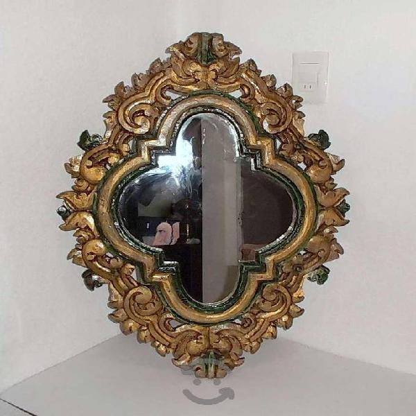 Antiguo espejo del Siglo XIX madera de mezquite