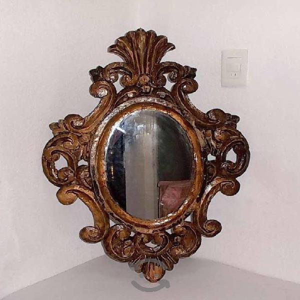 Espejo antiguo marco de madera tallada a mano