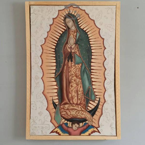 Virgen de Guadalupe Óleo pintado a mano 54x82cm