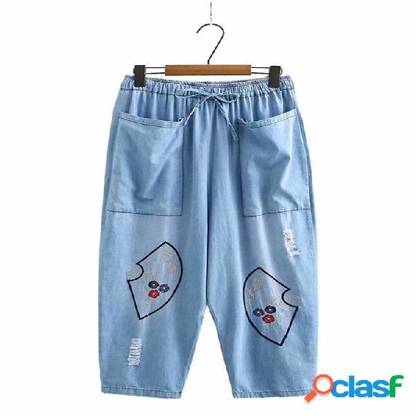 Fans de bordado cintura elástica Plus tamaño Pantalones