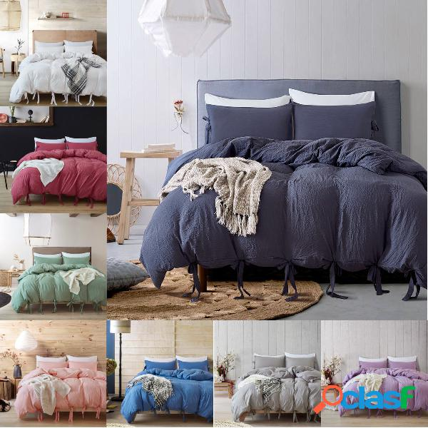 Juego de cama de 3 piezas de lino de color sólido, juego de